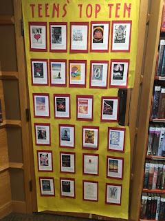 top ten nominees display with book covers