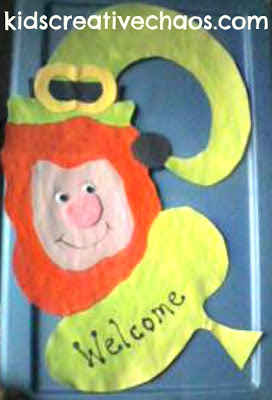 Easy St. Patrick's Day Activity Leprechaun Door Decoration Hanger