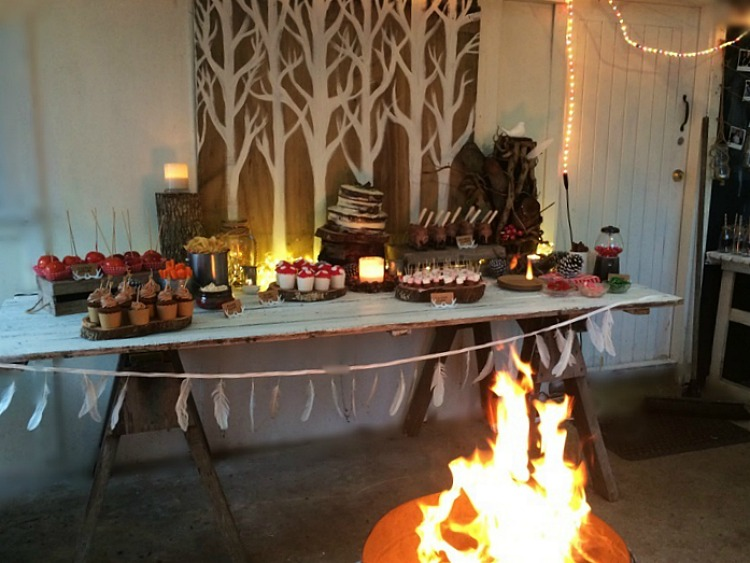 Woodland campfire partyset up - dessert table and campfire