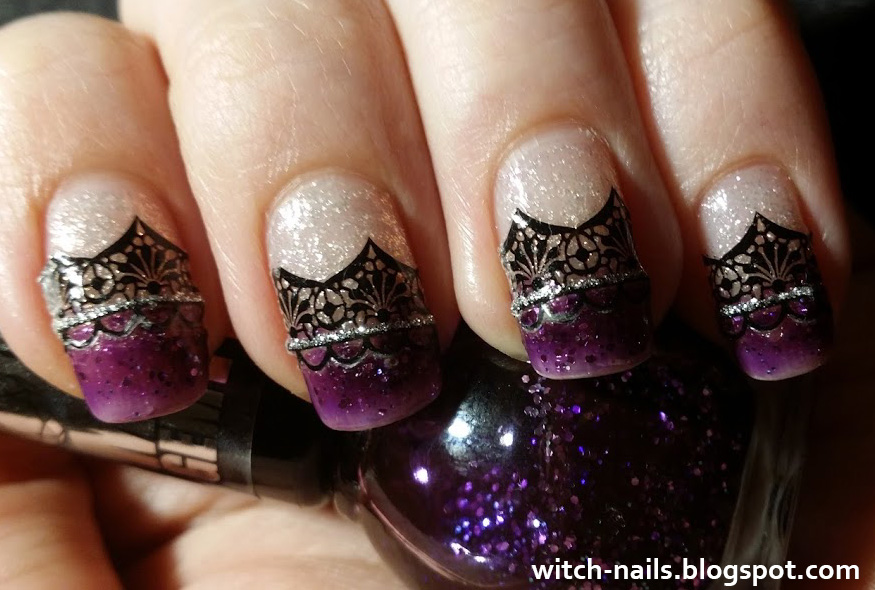 gothic manicure with purple tips and black lace