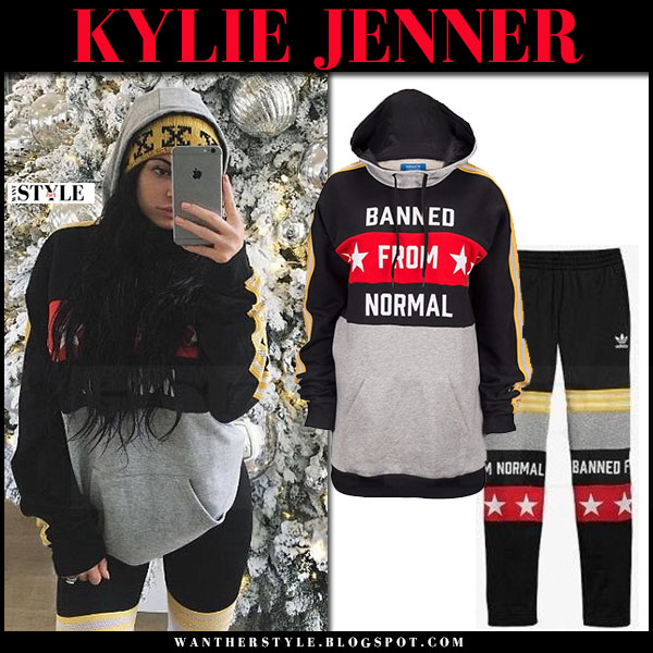 Kylie Jenner in black and grey print hoodie from Adidas x rita ora what she wore