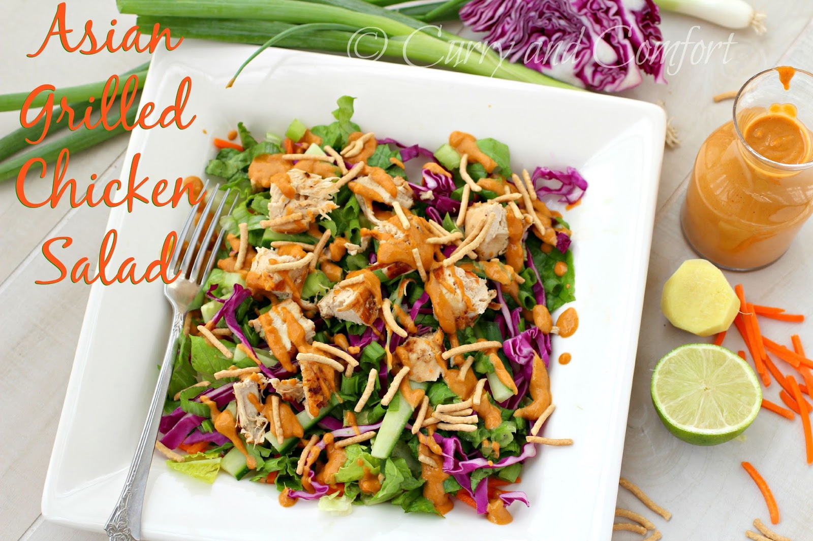 Kitchen Simmer: Asian Grilled Chicken Salad with Spicy Peanut Dressing