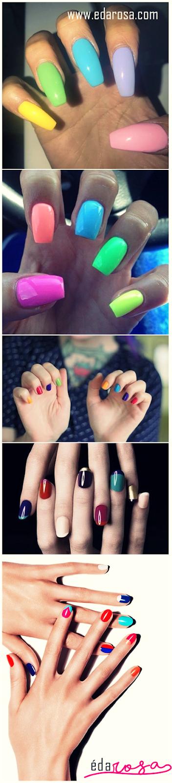 unhas decoradas em cores diferentes