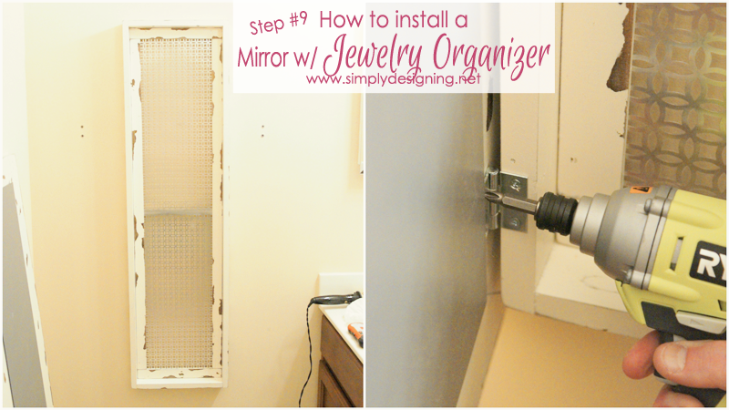 Diy framed mirror with hidden jewelry organization for How to install a mirror on the wall