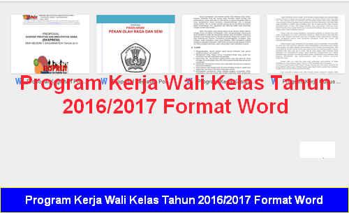 Program Kerja Wali Kelas Tahun 2016/2017 Format Word
