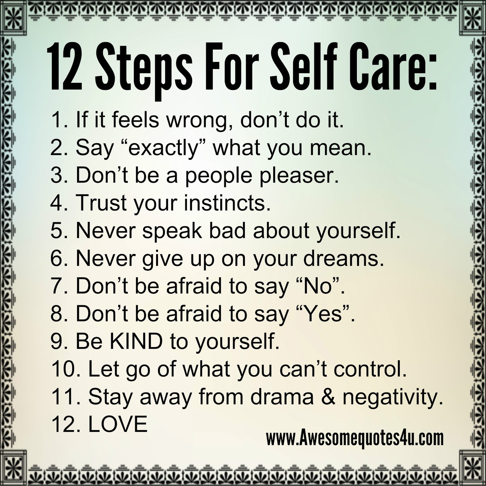 Awesome Quotes 12 Steps For Self Care
