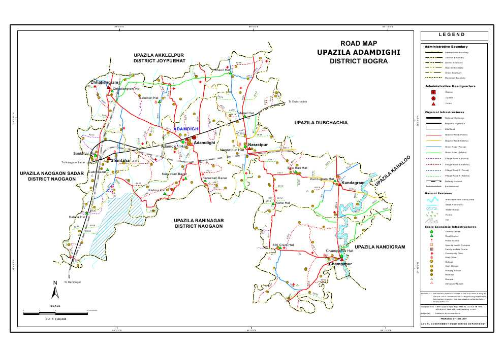 Adamdighi Upazila Road Map Bogra District Bangladesh