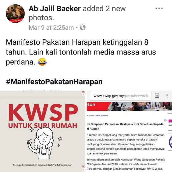 KWSP suri rumah: Manifesto pembangkang ketinggalan 8 tahun