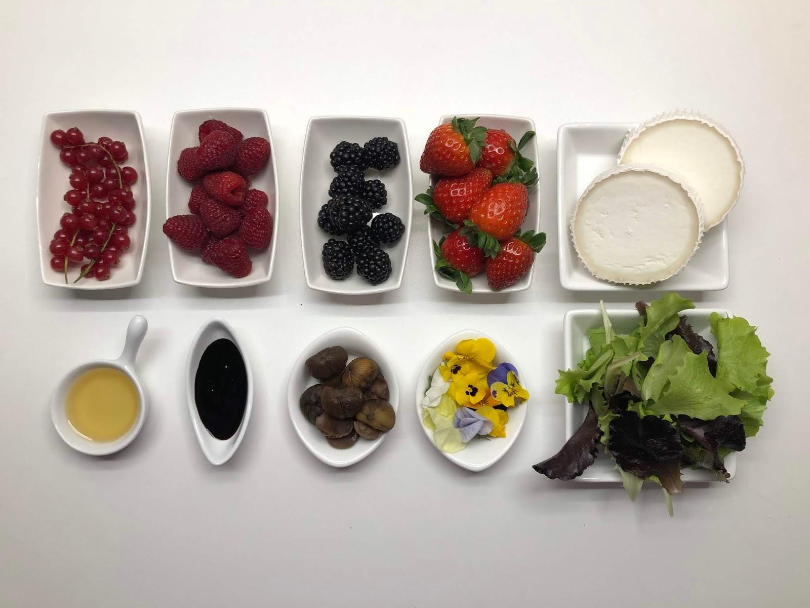 Ensalada con queso de cabra, castañas y frutos del bosque - ingredientes