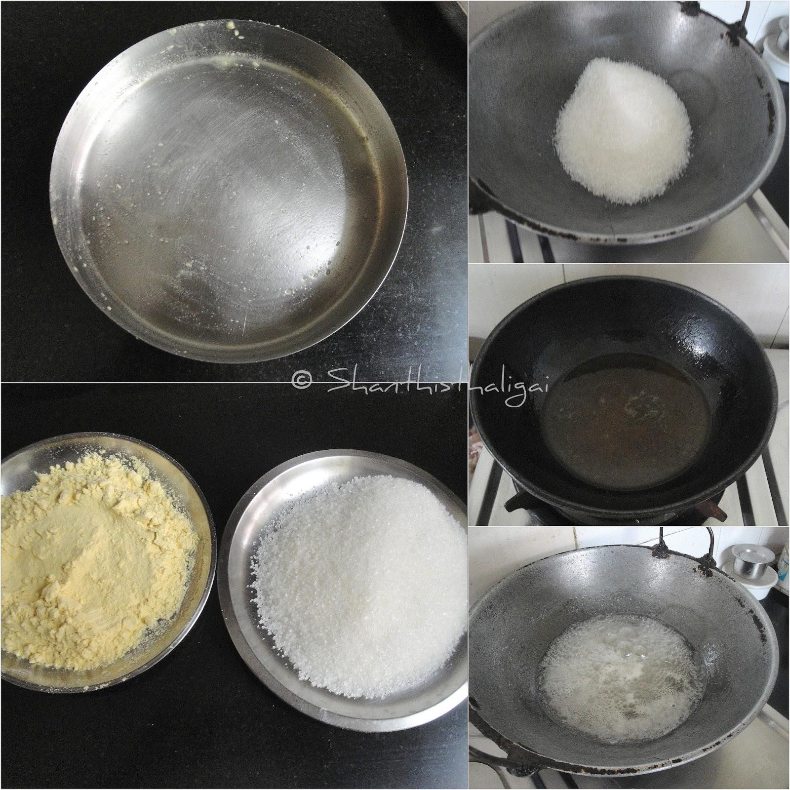 How-to-make-porous-mysore-pak, How-to-make-crunchy-mysore-pak