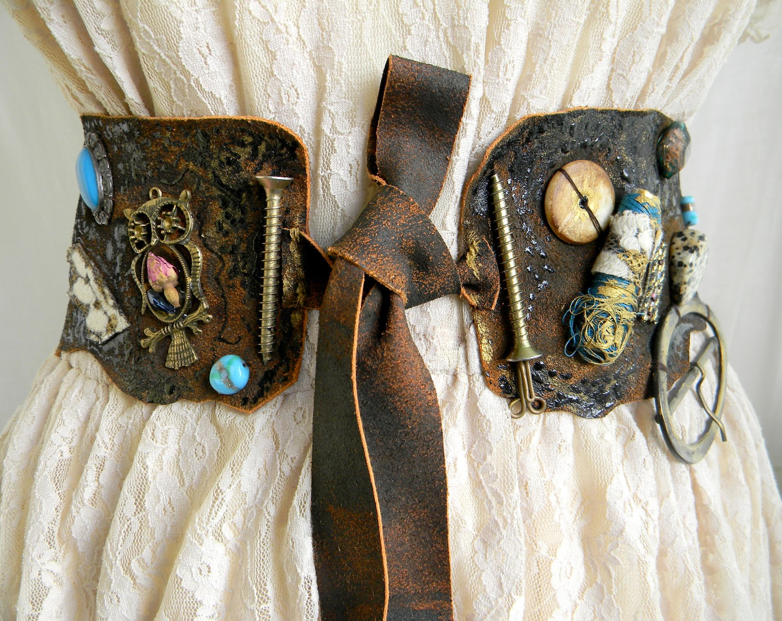 Handmade Steampunk Waist Belt/Sash Leather Accessory