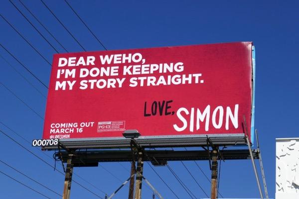 Dear WEHO done keeping story straight Love Simon billboard