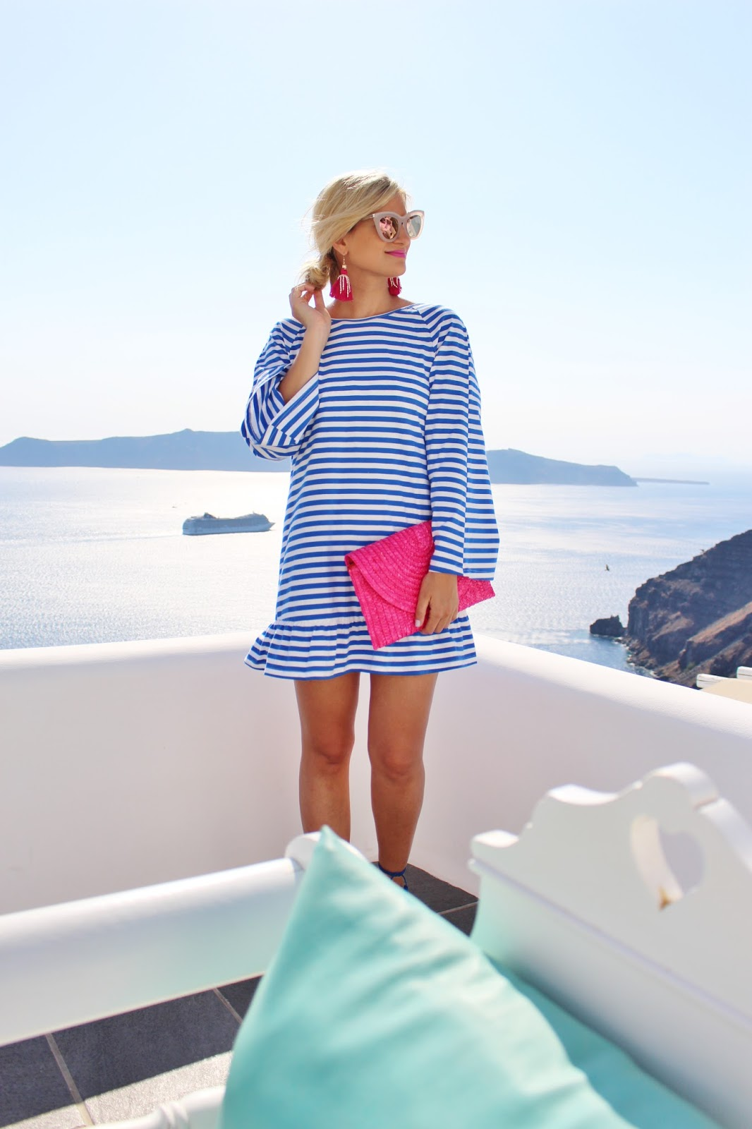 Bijuleni, sheinside tassel beach coverup in Santorini