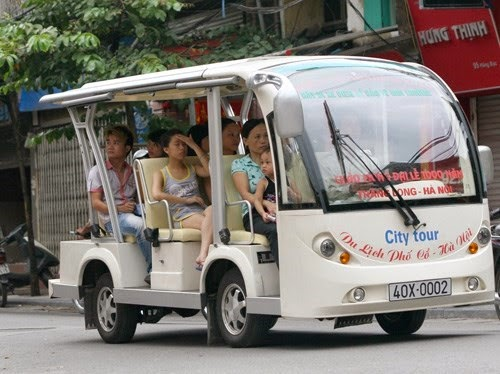 Hanoi - Electric Bus in Old Quarter