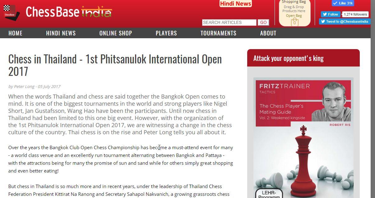 Peter Long on Chess: Phitsanulok Open in ChessBase India