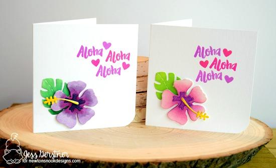 Hibiscus Aloha card set by Jess Gerstner | Hibiscus Die set by Newton's Nook Designs #newtonsnook