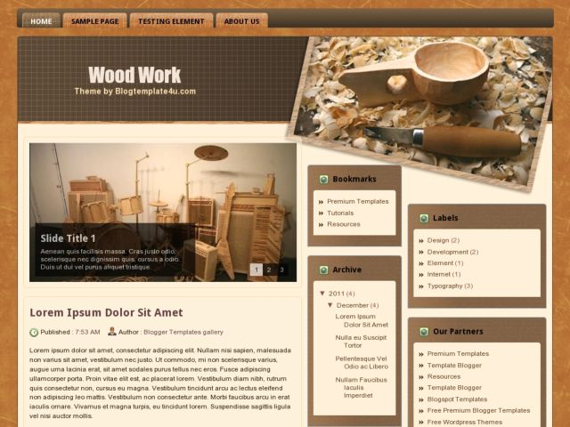 Wood Work Blogger Template