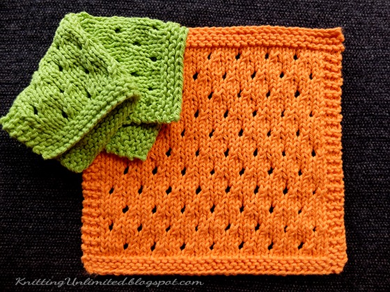 Dishcloth 8 Staggered Eyelets Knitting Unlimited