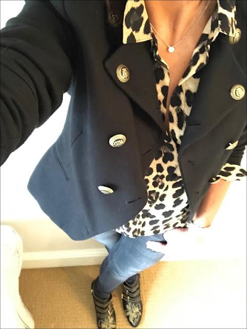 My Midlife Fashion, Zara military jacket, zara leopard print shirt, zara skinny jeans, chloe susanna studded boots