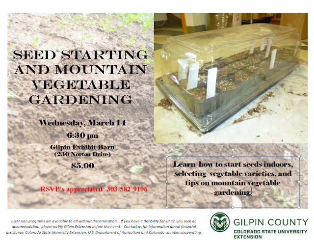 Upcoming class- Seed Starting and Planning your Mountain Vegetable Garden