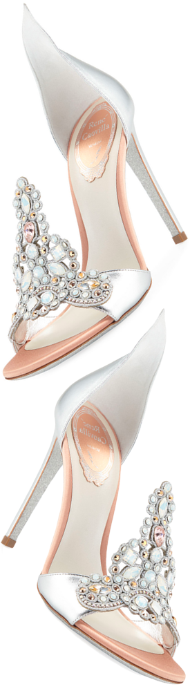 Rene Caovilla Embroidered Crystal Metallic Pumps