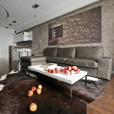 open concept kitchen and living area with hood design idea