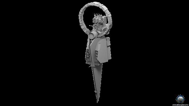mothership scifi vertical capital ship gravity rotating habitat ring african design concept art free 3D model download solcommand