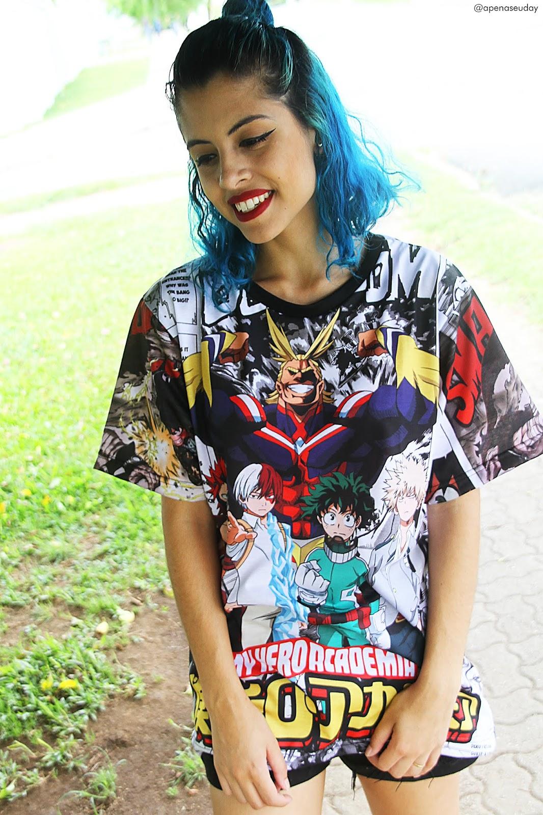 Camisa Full Boku no Hero Academia da loja Busca Animes, estampa em toda camisa feita em sublimação com cores vivas em tecido de poliéster. Saiba mais agora!