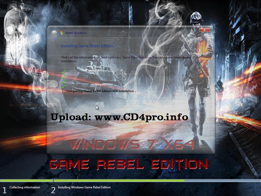 Windows 7 Game Rebel Edition X64 Bản Windows 7 64 bit thiết kế đặc
