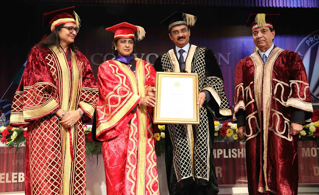 LPU Chancellor Ashok Mittal, Pro Chancellor Rashmi Mittal, VC Dr Ramesh Kanwar giving Honoris Causa to HE President of the Republic of Mauritius Dr Ameenah Gurib Fakim at LPU Convocation