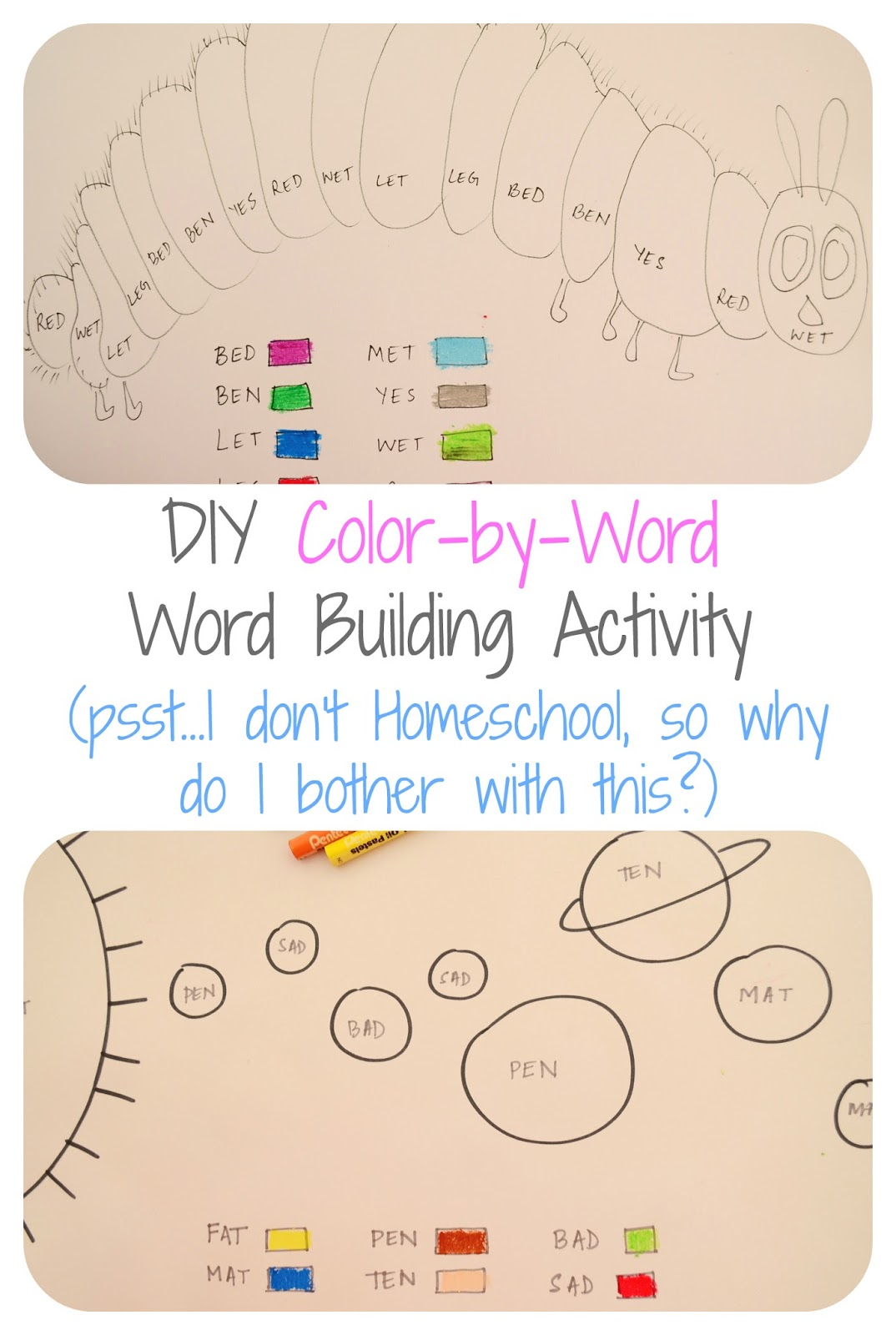 The Practical Mom: DIY Color-by-Word: Word Building Activity: I don't homeschool, So why do I bother with all this?