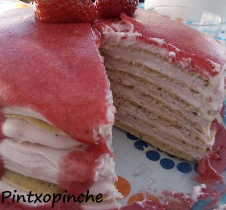 blinis, cake, crepes, fresas, fruta, mille crepes, pettit suisse, tortitas