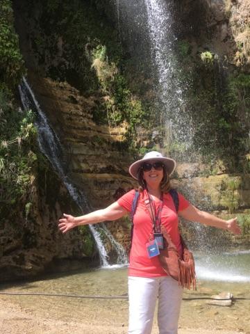 Debbie by the waterfall of En Gedi Israel -