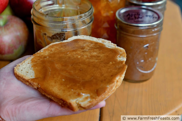 image of sourdough bread spread with slow cooker apple butter