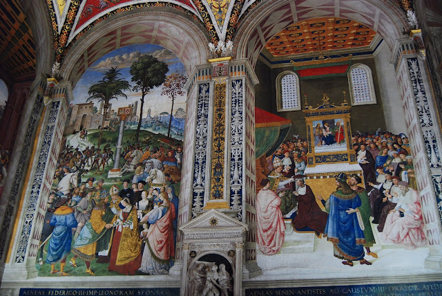 Deux scènes sont ici reproduites, la rencontre entre Philippe III et Eleonore d'Aragon et la soumission à Eugène IV.