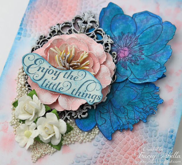 DIY Watercolor Flowers with Distress Crayons, Tim Holtz Flower Garden Stamps, Distress Watercolor Cardstock, Prills, Prima Flowers