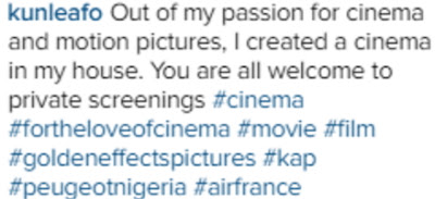 kunle afolayan cinema in house