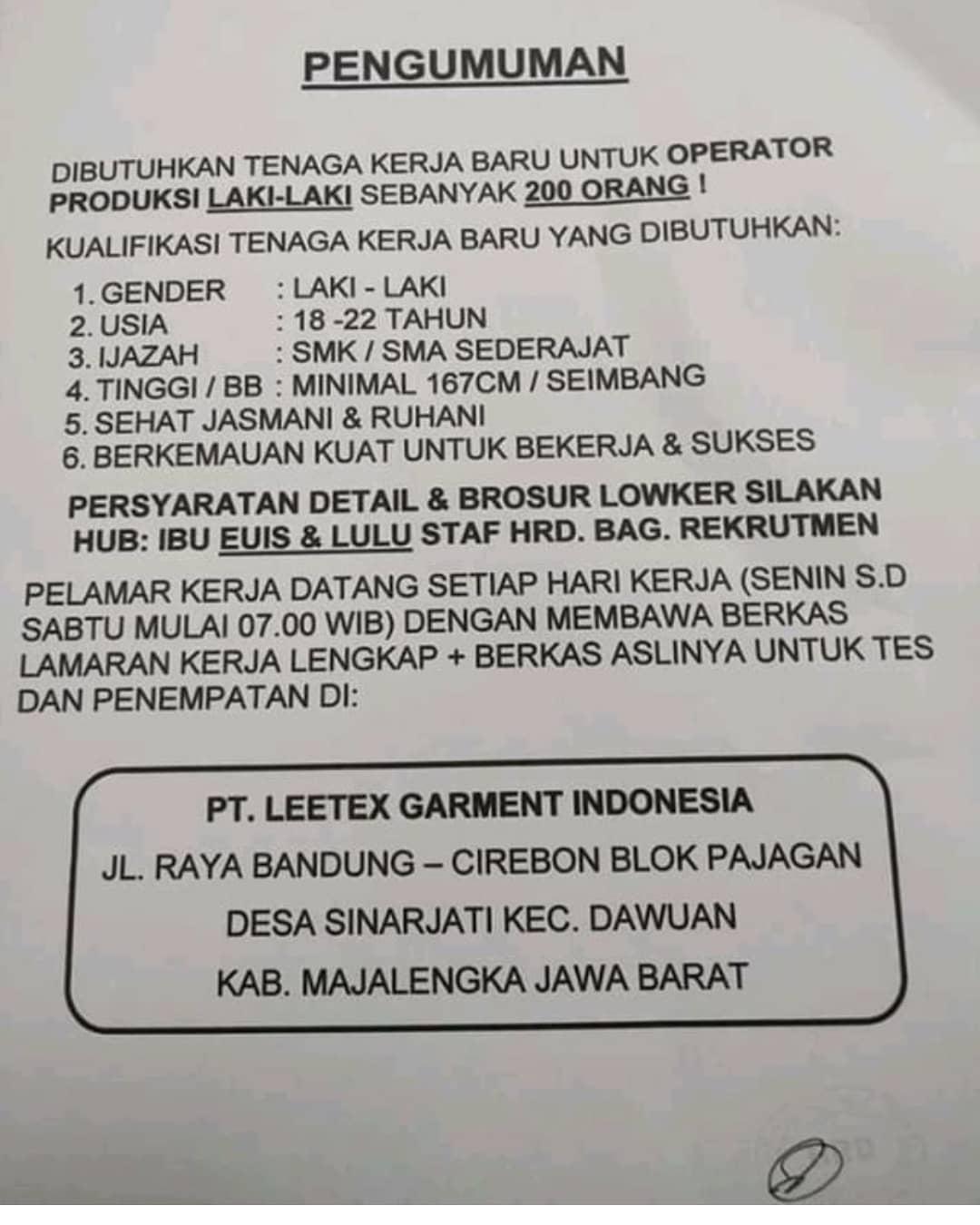 Lowongan Kerja Pt Leetex Garment Indonesia 2021