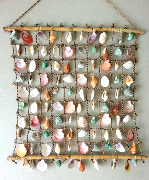 shell wall hanging featured on 31 seashell collection display ideas