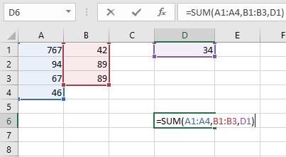 Contoh fungsi SUM dengan multi argumen