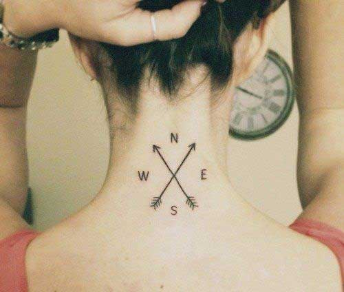 neck arrow and compass tattoo ense pusula ok dövmesi