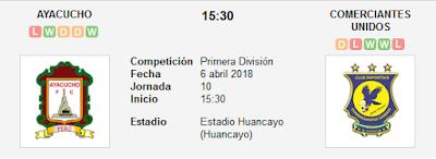 Ayacucho vs Comerciantes Unidos en VIVO