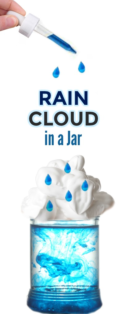 FUN KID SCIENCE: Make a rain cloud in a jar. Great for all ages!  #scienceforkids #weatheractivitiesforkids #springscience