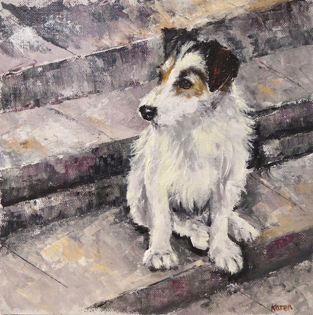 oil painting of a jack russell terrier on a set of stone steps