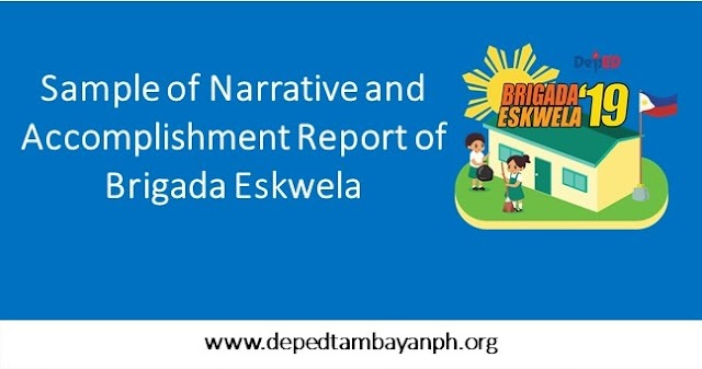 Sample of Narrative and Accomplishment Report of Brigada Eskwela 2019