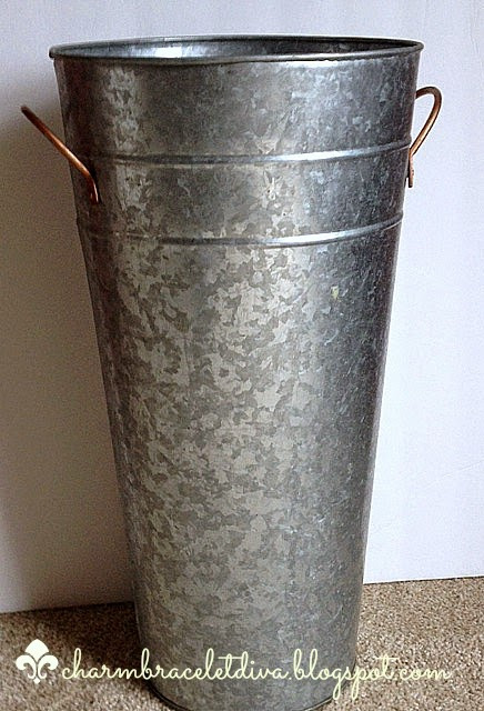 galvanized French flower bucket