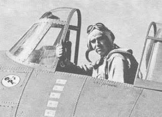 "Lieutenant ""Butch"" O'Hare in a Grumman F4F-3 Wildcat,"