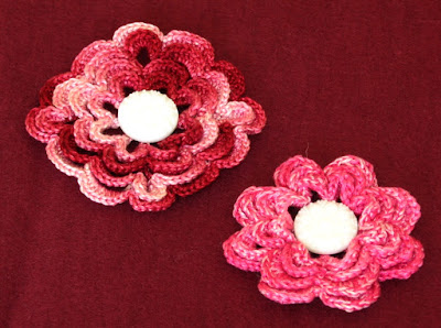 Set of Crochet Flower Pins - Red and Pink - Handmade By RSS Designs In Fiber