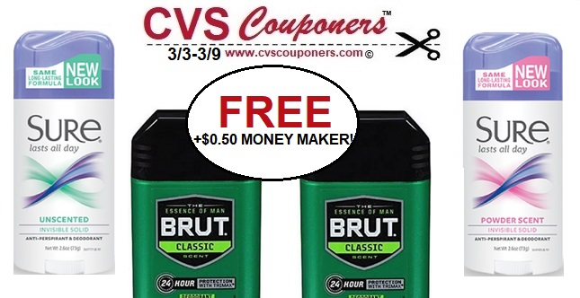 CVS Deals - FREE Sure or Brut Deodorant