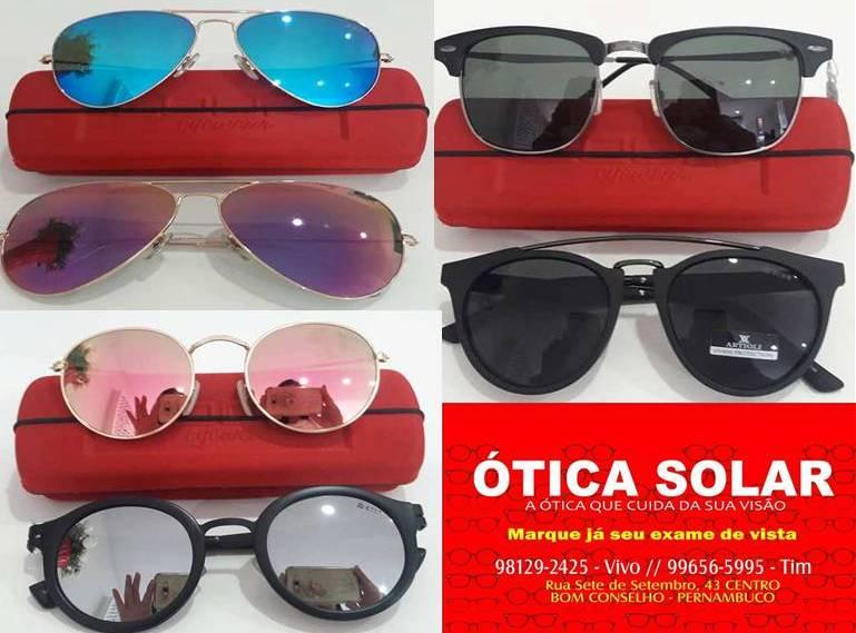 f062d0be12483 Óculos modernos e com grande variedade em opções, além de preços  imbatíveis, só na Ótica Solar. Armações a partir de R  99,00. Óculos de sol  com proteção ...